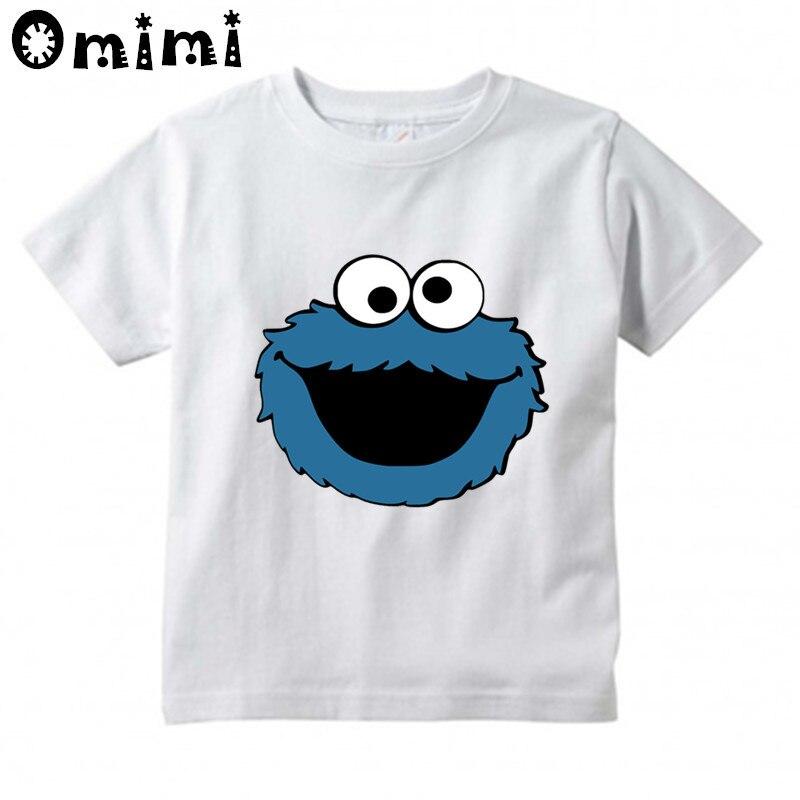 Kids Cartoon Sesame Street COOKIE MONSTER Design T Shirt Boys/Girls Kawaii Short Sleeve Tops Children's Funny T-Shirt,ooo3068