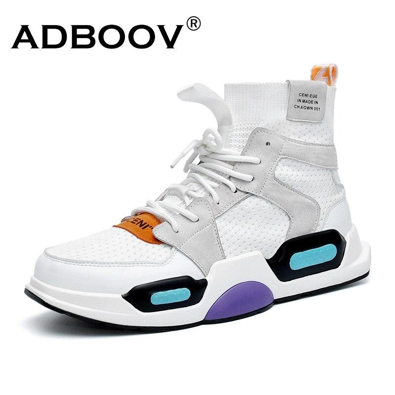 ADBOOV Новые высокие кроссовки Для мужчин осень вязаный верх человек дизайнером обуви Мода Вулканизированная обувь белый зеленый Zapatos De Hombre