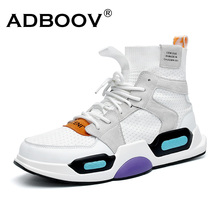 ADBOOV New High Top Sneakers Men Autumn Knit Upper Designer Shoes Man Trendy Vulcanized Shoes White Green Zapatos De Hombre