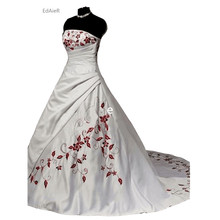 Strapless White Red Embroidery Court Train Ball Gown Wedding Dress 2017Cheap Bride Dress Lace-up Pleat Charming Beautiful Hot