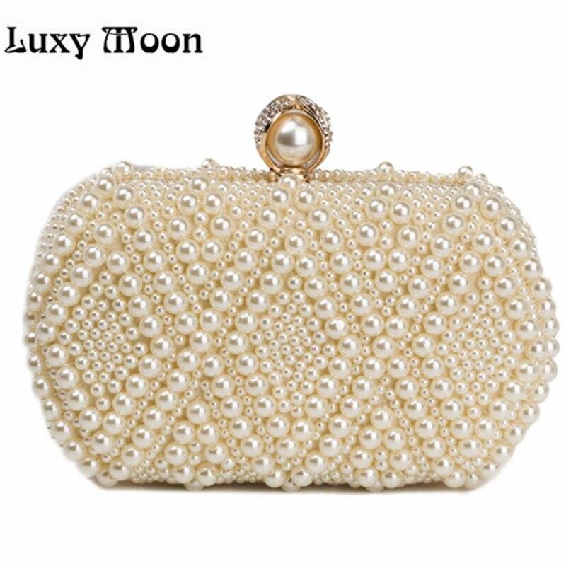 100% NEW pearls clutch bag luxury diamond evening bags gold clutch silver purse shinny glitter wedding bridal wallets w551