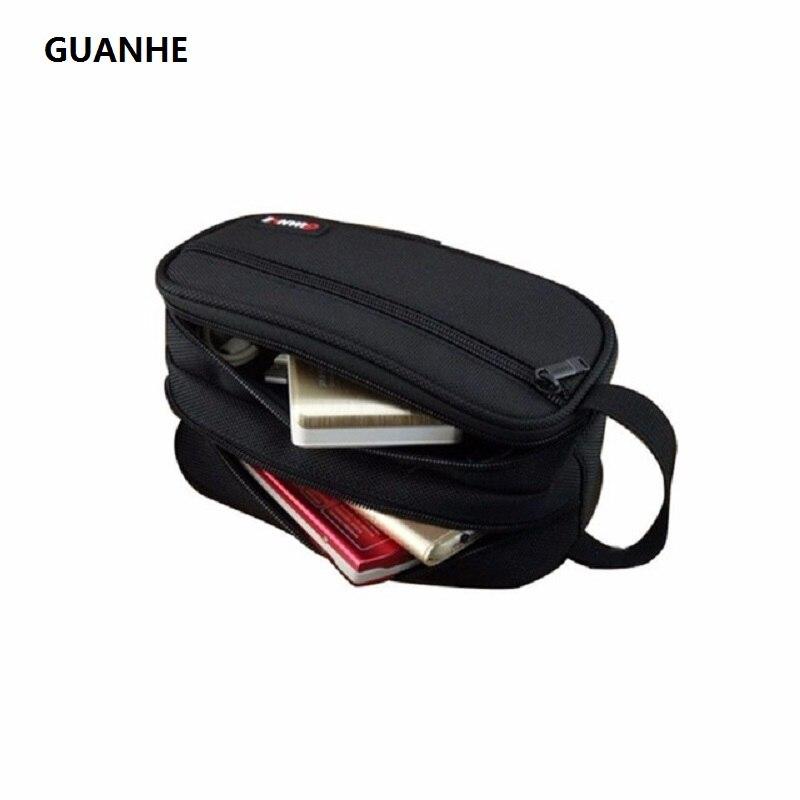 GUANHE Nylon Accessoires Organisateur Toilettage Kit D'emballage Housse Double Couche Électronique Sac de Transport Noir Pour disque Dur