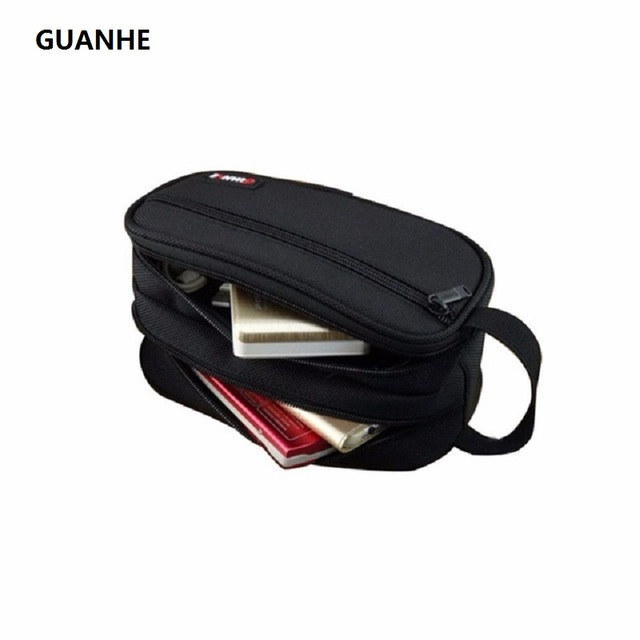 f0eb1fbf16e1 GUANHE Nylon Accessories Organiser Grooming Kit Packing Pouch Case Double  Layer Electronics Carry Bag Black For Hard drive