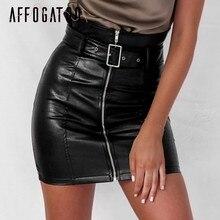 0d1aa8480d9 Affogatoo taille haute pu cuir jupes femmes ceinture zipper crayon mini jupe  2018 automne streetwear hiver noir jupes courtes