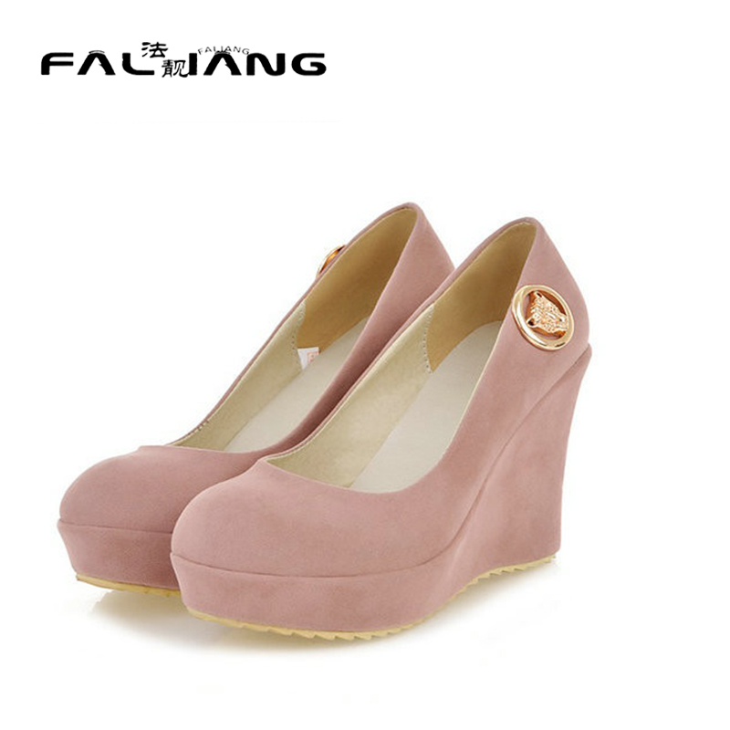 ФОТО 2017 New spring and autumn sexy Women 's nubuck leather High wedge heel Platform shoes large size 34-43