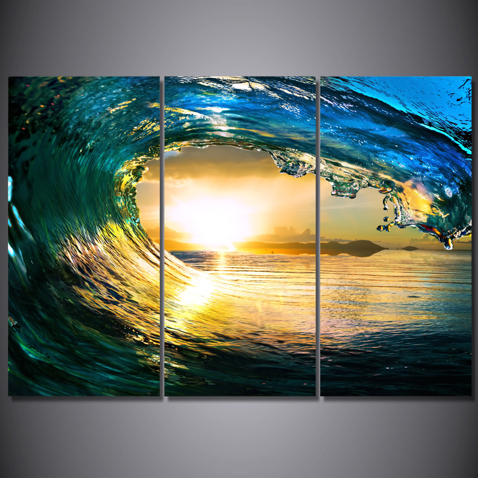 Printed 3 piece canvas art ocean wave sunset sea Paintingcanvas ...
