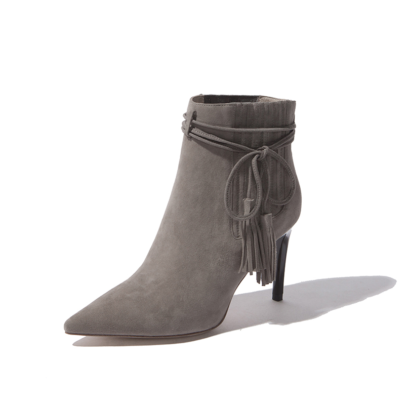 ФОТО 2017 new Free Shipping Winter New Arrival Pointed High Heels Pump Shoes Fringed Suede Snow Boots Thin Heels Lace-Up Solid