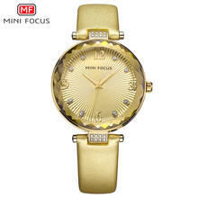 MINI FOCUS Luxury Fashion Women's Watches Quartz Watch Golden Wristwatches Leather Strap Women Gold Watch Relogio Feminino