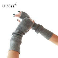 ФОТО lhzsyy 2018 autumn winter new long cashmere gloves solid knitted mittens soft warm arm female wool high quality 40cm glove
