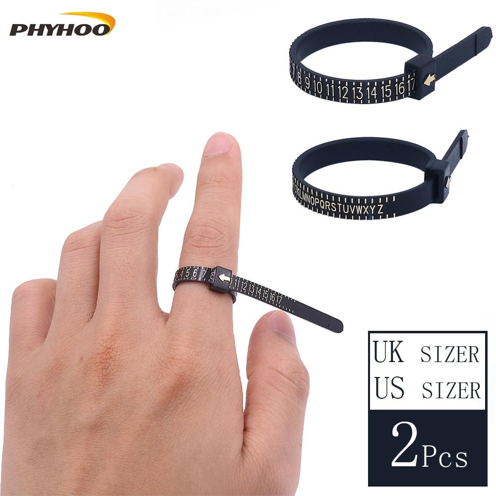 Us//Uk Ring Sizer Scale Gauge Finger Stick Mandrel Measurement Jewelry Tools LC