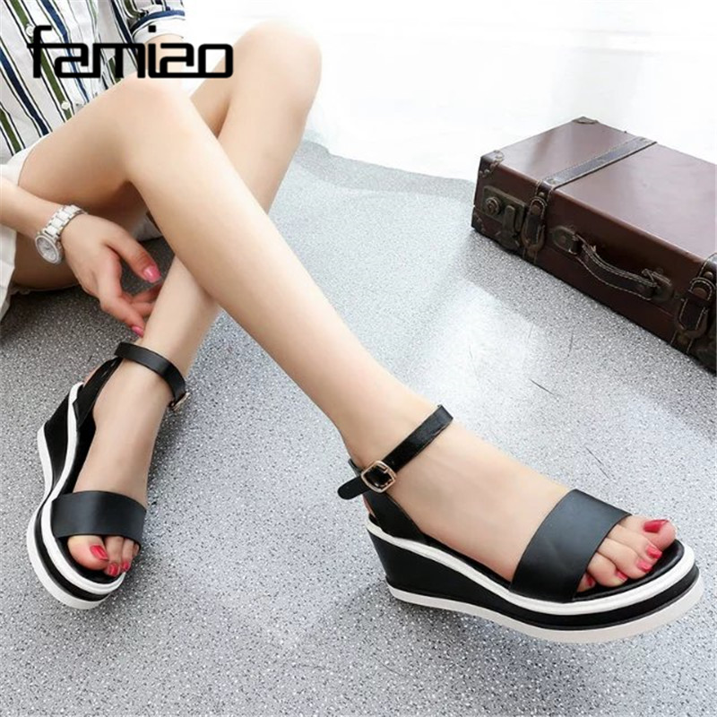 women sandals PU Leather flat Sandals Low Wedges Summer Shoes women Open Toe Platform Sandals women casual shoes sandalias mujer 2017 summer shoes woman platform sandals women soft leather casual open toe gladiator wedges sandalia mujer women shoes flats