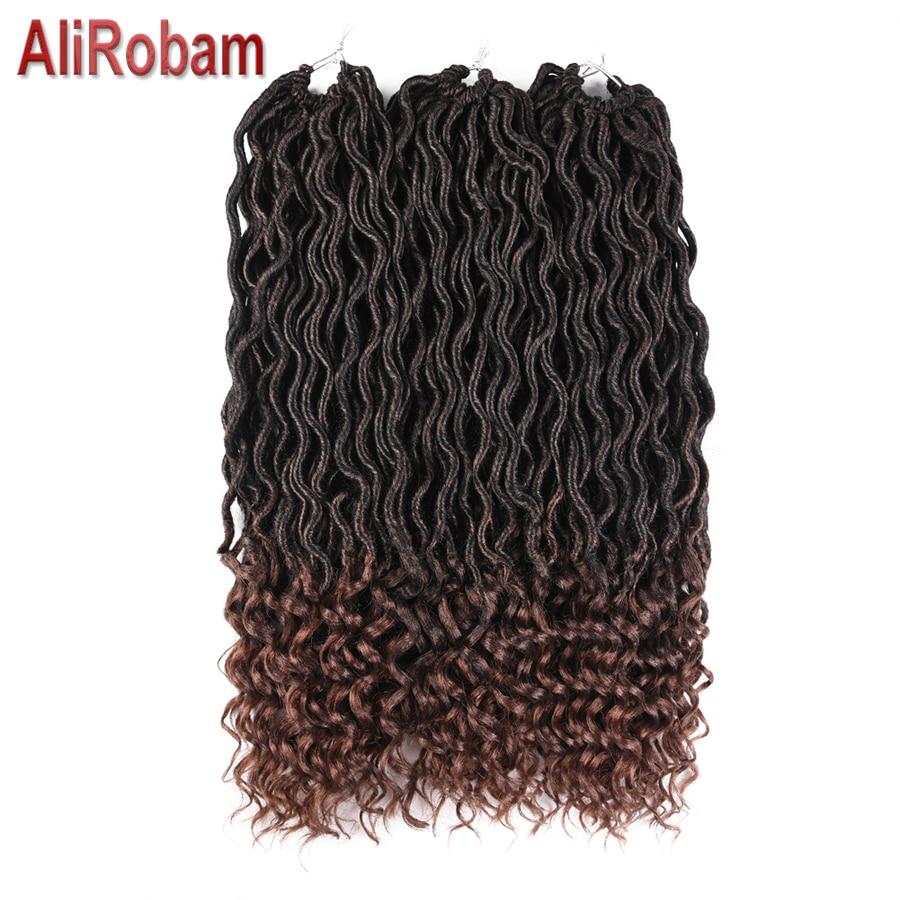 AliRobam Kanekalon Faux Locs Curly Crochet Braid Hair 20inch 24roots Synthetic Braiding Hair Extensions Burgundy Black Color