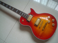Lp guitars cs cherry sunburst tùy chỉnh tối cao guitar một mảnh cổ gỗ gụ grover tuner flamed top phần cứng vàng miễn phí vận chuyển