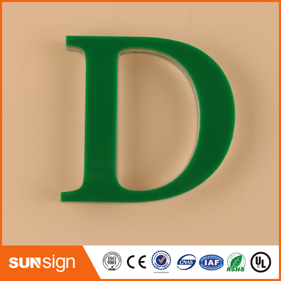 Custom Advertising Green Plexiglass Letters Signage Outdoor Sign