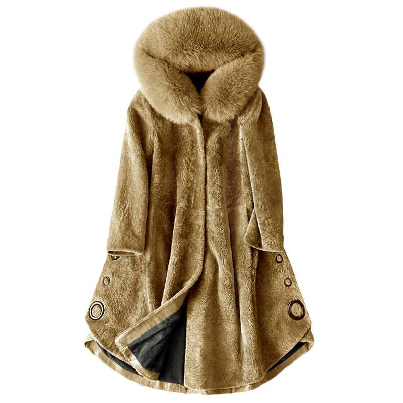 f8a3ca791cca Detail Feedback Questions about Winter Autumn Women s Fashion Large Natural  Fox Fur Hooded A Line Sheared Sheep Wool Coats Blends Female Asymmetrical  ...
