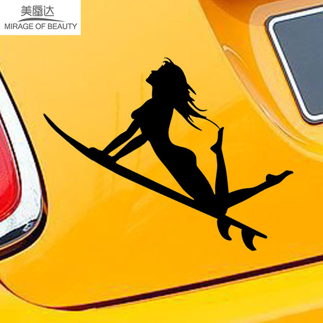 11cm*17cm Funny People Sexy Girl Sea Sports Surfing Car Stickers Exterior Decoration Waterproof Vinyl Decals