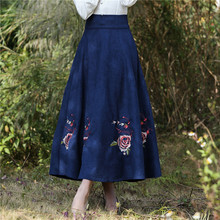 2016 Women skirt Autumn Winter Vinatge Retro High Waist Floral  Midi Skirts Faldas