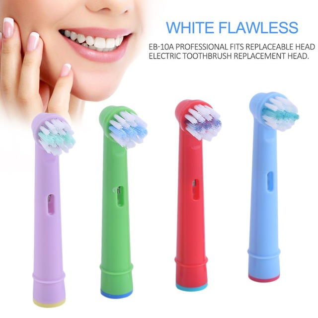4Pcs/lot Toothbrush Heads Electric Toothbrush Replacement Heads Fit for Oral B Toothbrush Heads EB-10A For Family Use Replacement Toothbrush Heads