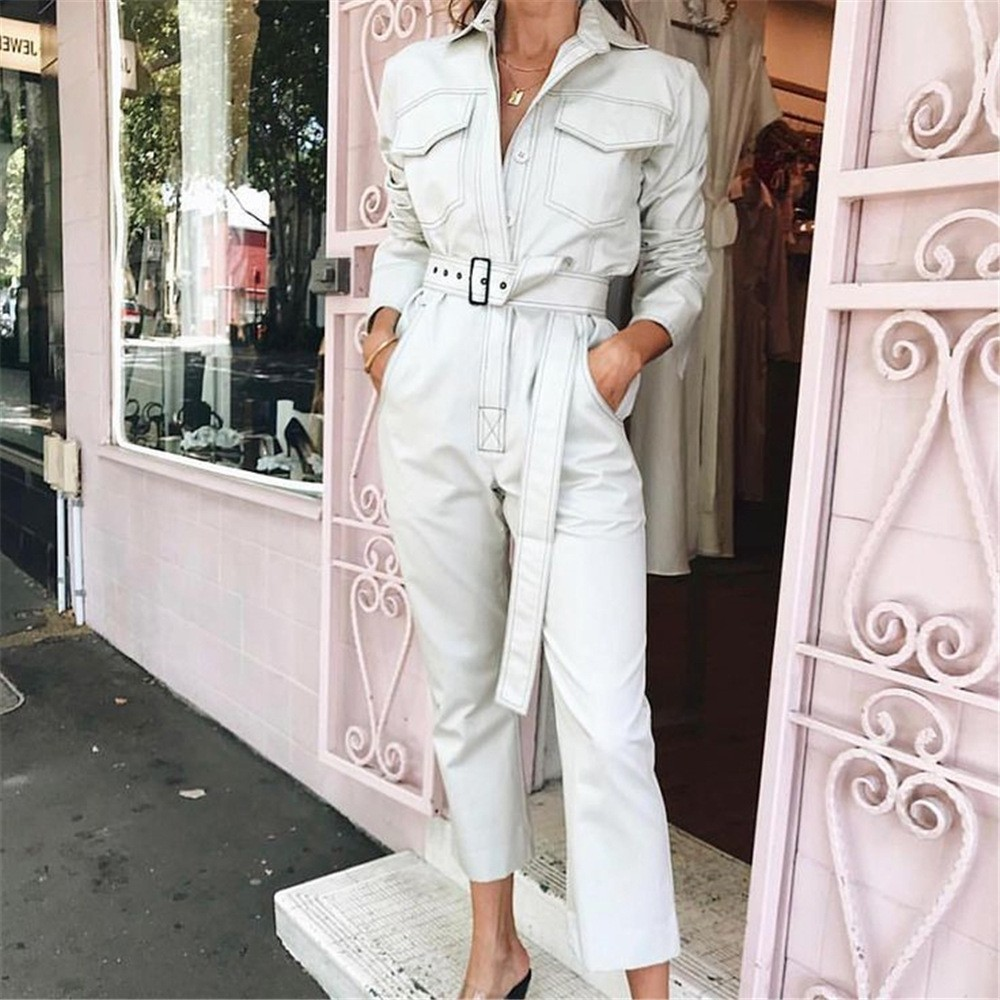 Women Loose Denim White Jumpsuit High Street Pocket Button Long Sleeve Ovralls Fashion Autumn Winter Female Black Belt Jumpsuit
