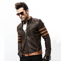 High end brand men's zipper leather jacket Wolverine casual PU leather locomotive coat Logan bomber jacket slim coat size M 5XL