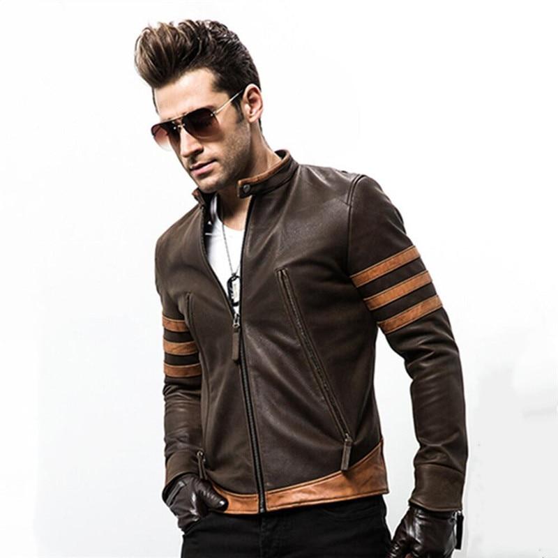 High-end Brand Men's Zipper Leather Jacket Wolverine Casual PU Leather Locomotive Coat Logan Bomber Jacket Slim Coat Size M-5XL