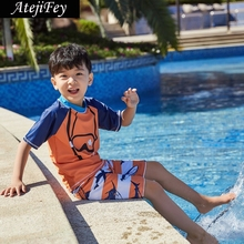 Atejifey 2019 Summer Boys Swimsuits Bathing Suit Two Pieces Separates Rash Guards Swimwear Baby Toddler Swimming Children