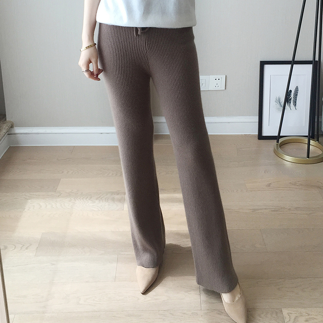 Autumn and winter fashion new women's simple drawstring waist knit pants cashmere pants ladies sweater warm pants stretch