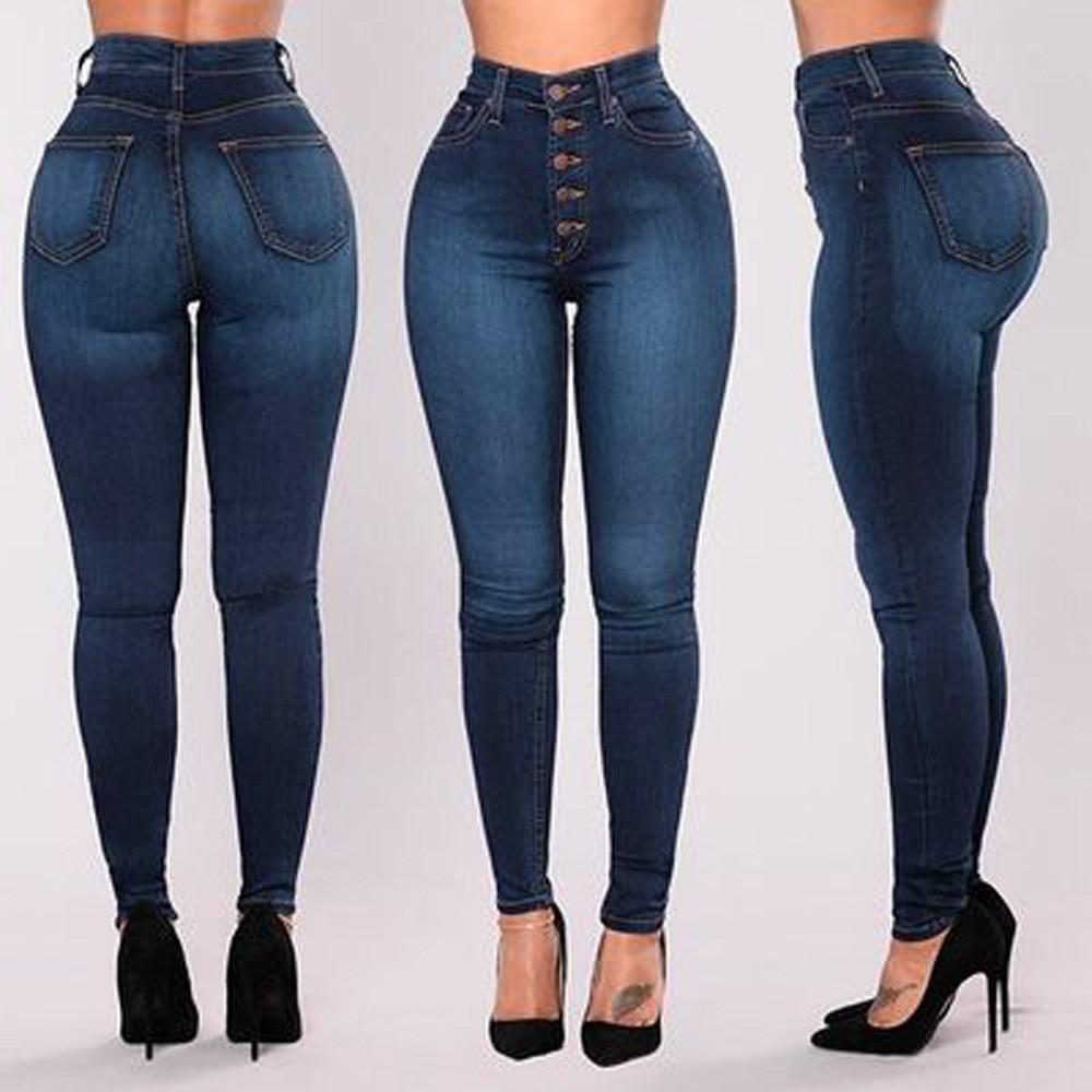 Women High Waisted Skinny Denim Jeans Ladies Spring Autumn Stretch Slim Pants Calf Length Jeans Calca Jeans Feminina Plus Size