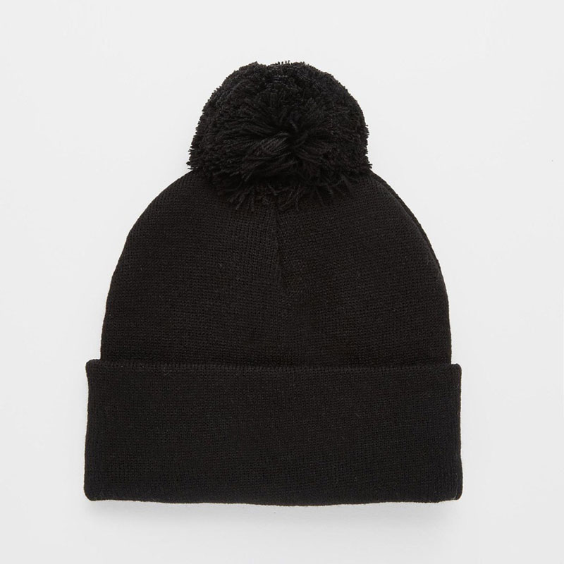 Autumn Winter Accessory Men's And Women's Pom Pom Knit Beanie Hats Unisex Skull Cap Black Gray In Stock