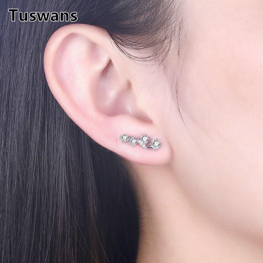 100% 925 Sterling Silver Dazzling Zircon Stud Earrings for Women Lady Gifts Anti-allergic Fashion Jewelry Brincos