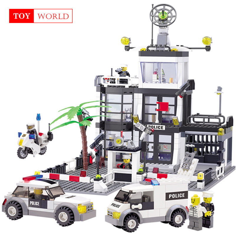 цена на 631Pcs Legoing City Police Station SWAT Building Blocks Figures Enlighten Friends Creator Bricks Educational Toys for children