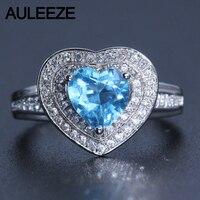 צורת לב רומנטית 1.5 קרט טופז Halo טבעת אירוסין 14 K 585 תכשיטי טופז אבן חן טבעת נישואים זהב לבן טבעי מתנה