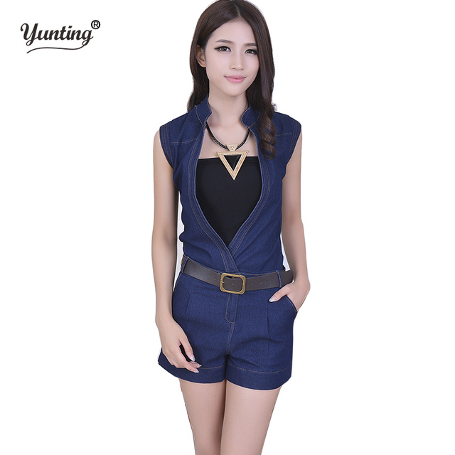 ae5ba5a05e4 macacao feminino 2019 Women Sleeveless blue sexy denim Jumpsuits Hollow Out  Casual Jumpsuit rompers womens jumpsuit with belt