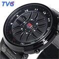 Garantía de calidad Marca TVG Diseño Creativo Coche Ruleta Relojes Deporte de Los Hombres Reloj Análogo-Digital de Moda del Binario Led Reloj Digital