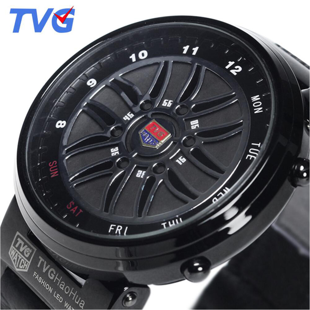 Top Brand TVG Watches Men Creative Design Car Roulette Fashion Binary Led Digital Watch Men Sports Watches relogio masculino