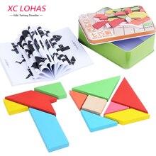 Large Size Wooden Jigsaw Puzzle Classic Geometric Shape Tangram Wooden Puzzle Children Tangram Puzzle Toys Educational