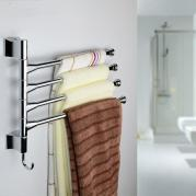 1pcs 4 Swivel Bar Wall Mounted Towel Rack Applied Stainless Steel Shelf Holder Hanger For Kitchen