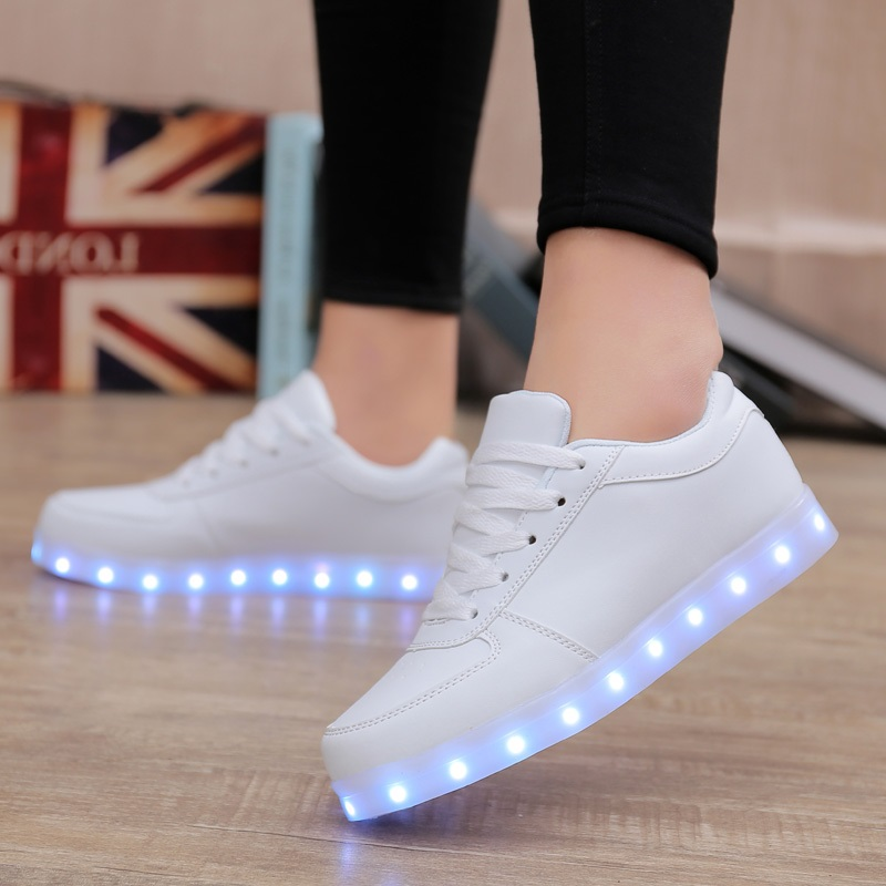 Women Led Shoes Fashion Luminous Light Shoes High Quality Women Flat Shoes Colorful White Shoes Famale 11 Light Mode 8 color led luminous shoes unisex glow shoe men women fashion lover tide leather recharge usb light shoes