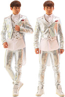 S 5XL 2017 Bars Nightclubs Punk Male Singer DJ Ma3 Jia3 Sequins Tuxedo Suit Costumes The