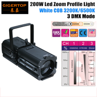 Freeshipping Led Soft Light Spot Profile Image Projector 200W DMX512 LED Ellipsoidal theater light party 3200k 6500k White CW WW
