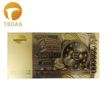 One Million Euro Banknotes 10pcs/lot 24k Gold Foil Banknote in Colors Collect