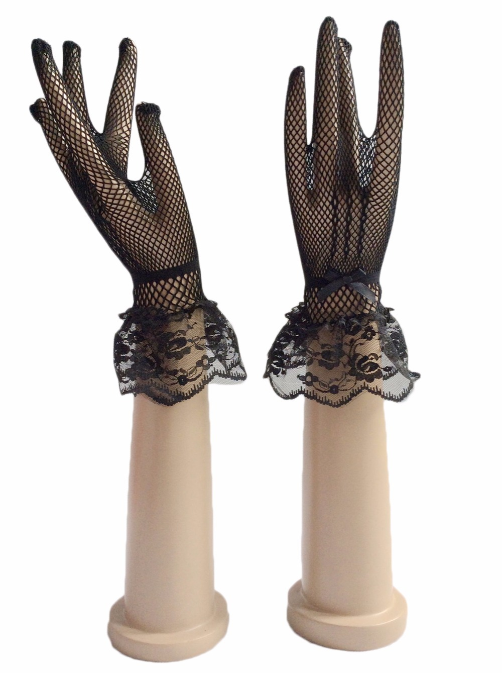 Beautiful Stunning Real Photo Black White Ivory Lace Bridal Gloves Bride Cheap In Stock Wedding Accessories