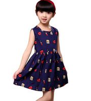 Children S Clothing Summer Lipstick Perfume Fashion 100 Pure Cotton Kids Korean Printing Sleeveless Girls Dress