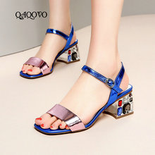Women Shoes Summer Genuined Leather Sandals Fashion Crystal Square High Heels Party Quality Blue Silver