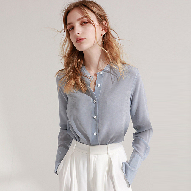 a14b353d1ec1c 100% Silk Blouse Women Shirt Simple Design Striped O Neck Long Sleeves  Office Work Top Graceful Style New Fashion 2018