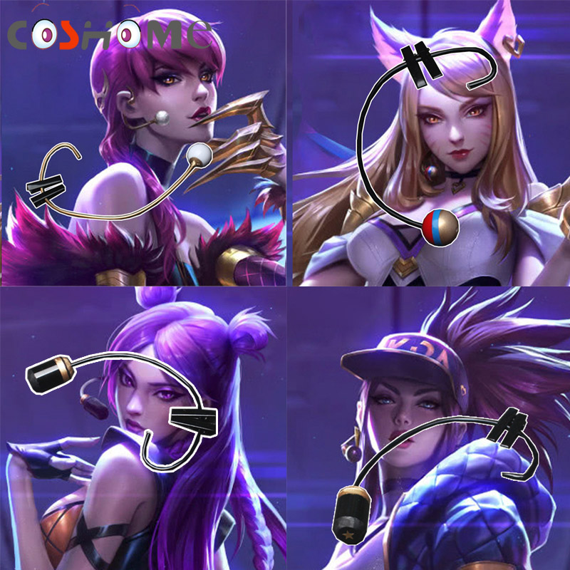 New Gane Lol Kda Ahri Akali Kaisa Evelynn Cosplay Costume Props Earphones Cosplay Accessories Costumes & Accessories Novelty & Special Use