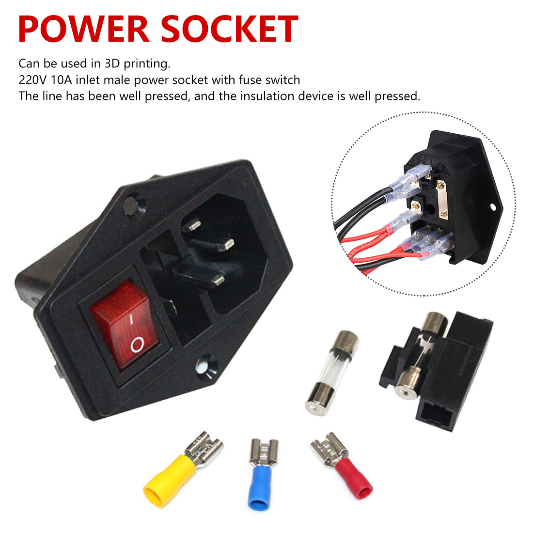 Power Switch <font><b>220V</b></font> <font><b>10A</b></font> power socket with triple Rocker Switch tripod feet of copper with <font><b>fuse</b></font> for 3d printer Parts socket adapter image