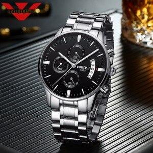 Image 2 - NIBOSI גברים של שחור שעונים חיוג מתכת בנד יוקרה מפורסם למעלה מותג גברים אופנה מזדמן שמלת צבאי קוורץ כסף שעוני יד