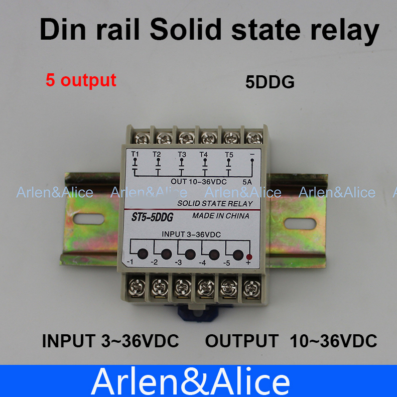 5DDG 5 Channel Din rail SSR quintuplicate five input 3~32VDC output 5~36VDC single phase DC solid state relay 20dd ssr control 3 32vdc output 5 220vdc single phase dc solid state relay 20a yhd2220d