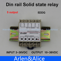5DDG Din Rail SSR Quintuplicate Five 5 Input 3 32VDC Output 5 36VDC Single Phase DC